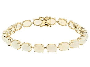 White Opal 10k Yellow Gold Bracelet 8x6mm