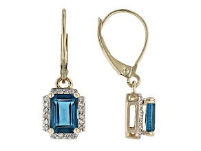 London Blue Topaz 10k Yellow Gold Earrings 2.23ctw
