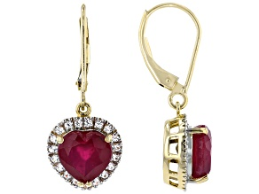 Red Mahaleo® Ruby 10k Yellow Gold Earrings 5.44ctw