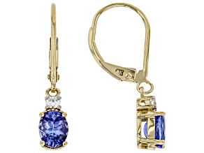 Blue Tanzanite 14k Yellow Gold Dangle Earrings .93ctw