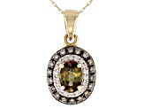 Green Andalusite 10k Yellow Gold Pendant With Chain .79ctw