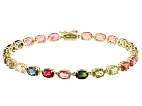 Mixed Color Tourmaline 10k Yellow Gold Bracelet 9.38ctw