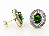 Green Oval Russian Chrome Diopside 10k Yellow Gold Earrings 3.57ctw