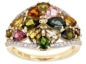 Mixed-Color Tourmaline 10k Yellow Gold Ring 2.97ctw