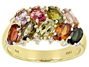 Mixed-Color Tourmaline 10k Yellow Gold Ring 1.93ctw
