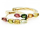 Mixed-Color Tourmaline 10k Yellow Gold Hoop Earrings 1.70ctw