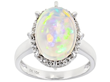 Picture of Multi Color Ethiopian Opal Rhodium Over 10k White Gold Ring