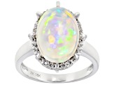 Multi Color Ethiopian Opal Rhodium Over 10k White Gold Ring