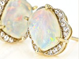 Multi Color Ethiopian Opal 10k Yellow Gold Stud Earrings