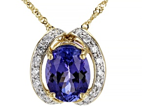 Blue Tanzanite 14k Yellow Gold Slide With Chain 1.79ctw