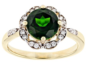 Green Chrome Diopside 10k Yellow Gold ring 1.99ctw