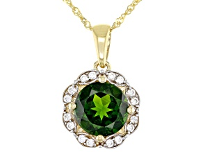 Green Chrome Diopside 10k Yellow Gold Pendant With Chain 1.93ctw