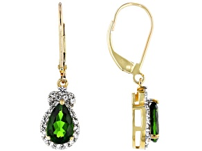 Green Russian Chrome Diopside 10k Yellow Gold Dangle Earrings 2.19ctw