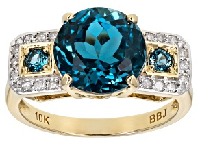 London Blue Topaz 10k Yellow Gold Ring 4.08ctw