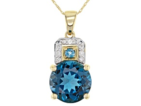 London Blue Topaz 10k Yellow Gold Pendant With Chain 3.95ctw