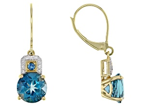 London Blue Topaz 10k Yellow Gold Earrings 4.15ctw