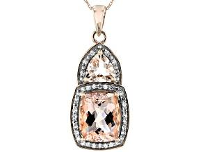 Peach Morganite 10k Rose Gold Pendant With Chain 3.22ctw