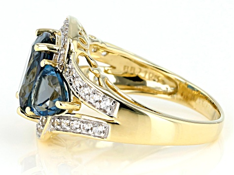London Blue Topaz 10k Yellow Gold Ring 4.95ctw