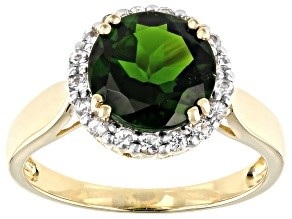 Green Russian Chrome Diopside 10k Yellow Gold Ring 2.72ctw