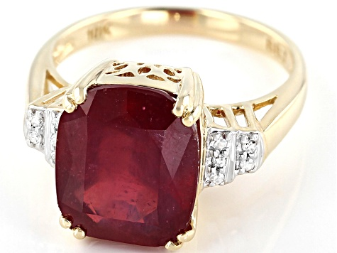 Red Mahaleo® Ruby 10k Yellow Gold Ring 7.20ctw