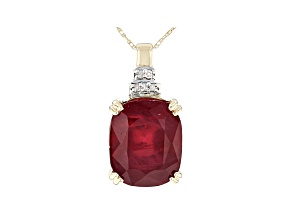 Red Mahaleo® Ruby 10k Yellow Gold Pendant With Chain 7.18ctw
