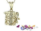 Mixed Multi Stone 10k Yellow Gold Prayer Box Pendant With Chain 1.38ctw