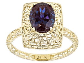 Blue Lab Created Alexandrite 10k Yellow Gold Ring 1.91ctw