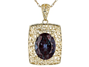 Blue Oval Lab Created Alexandrite 10k Yellow Gold Pendant With Chain 1.91ctw