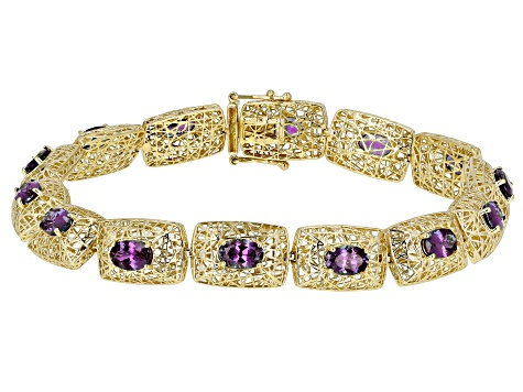 Blue Lab Created Alexandrite 10k Yellow Gold Bracelet 6.51ctw