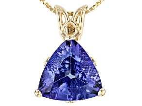 Blue Tanzanite 14k Yellow Gold Pendant With Chain 1.90ct