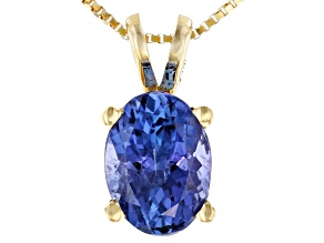 Blue Tanzanite 14k Yellow Gold Pendant With Chain 0.90ct