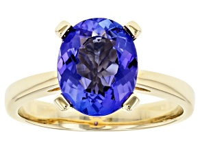 Blue Tanzanite 14k Yellow Gold Ring 2.15ct