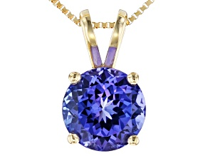 Blue Tanzanite 14k Yellow Gold Pendant With Chain 1.40ct