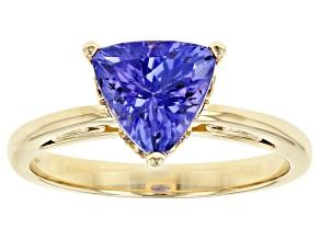 Blue Tanzanite 14k Yellow Gold Ring 1.90ct