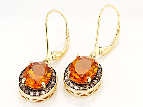 Madeira Citrine 10k Yellow Gold Dangle Earrings 3.26ctw
