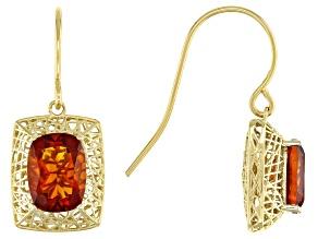 Orange Madeira Citrine 10k Yellow Gold Filigree Earrings 2.16ctw