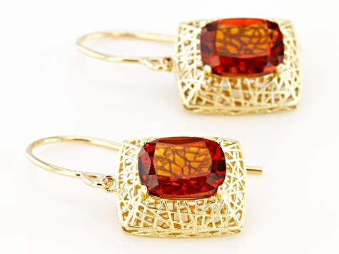 Orange Madeira Citrine 10k Yellow Gold Filigree Earrings 2.16ctw