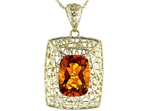 Orange Madeira Citrine 10k Yellow Gold Pendant With Chain 1.08ct