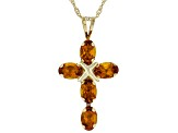 Orange Madeira Citrine 10k Yellow Gold Pendant With Chain 2.04ctw
