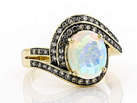 Multi Color Ethiopian Opal 14k Yellow Gold Ring 1.74ctw