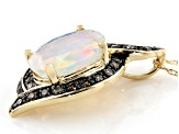 Multi Color Ethiopian Opal 14k Yellow Gold Pendant With Chain 1.51ctw