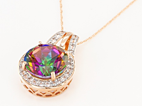 Green Mystic Fire® Topaz 10k Rose Gold Pendant With Chain 5.79ctw