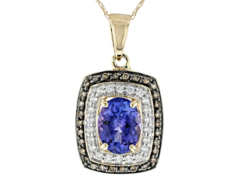 Blue Tanzanite 10k Yellow Gold Pendant With Chain 1.80ctw