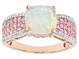 Multi Color Ethiopian Opal 10k Rose Gold Ring 2.42ctw