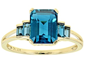 London Blue Topaz 10k Yellow Gold Ring 2.91ctw