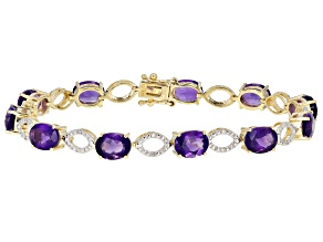 Purple Uruguayan Amethyst 10k Yellow Gold Bracelet 12.30ctw