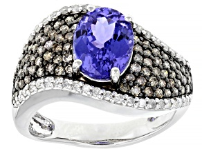 Blue Tanzanite  Rhodium Over 14k White Gold Ring 2.37