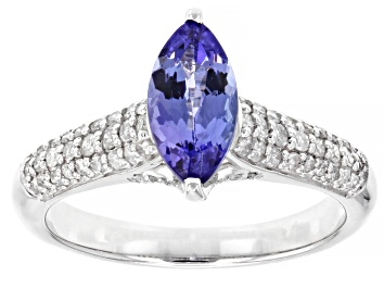Picture of Blue Tanzanite Rhodium Over 14k White Gold Ring 1.22ctw