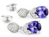 Blue Tanzanite Rhodium Over 14k White Gold Earrings 2.51ctw