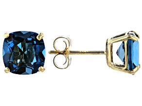 London Blue Topaz 10k Yellow Gold Earrings 2.00ctw